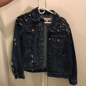 Anthropologie denim studded jacket
